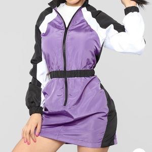 Colorblock windbreaker material dress fashion nova